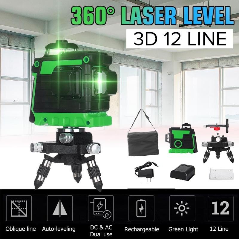 12 linii 3D poziom lasera samopoziomujący 360 poziome i pionowe krzyż Super mocny zielony laser wiązka laserowa + 5800mAh baterii