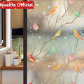 60x90cm Bird language floral pattern frosted glass film bathroom kitchen kids room shop living room bedroom balcony window film