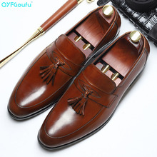 QYFCIOUFU Luxury 2019 New Fashion Genuine Leather Oxford Shoes Classic Business Men Dress Slip-on Pointed Toe Tassel