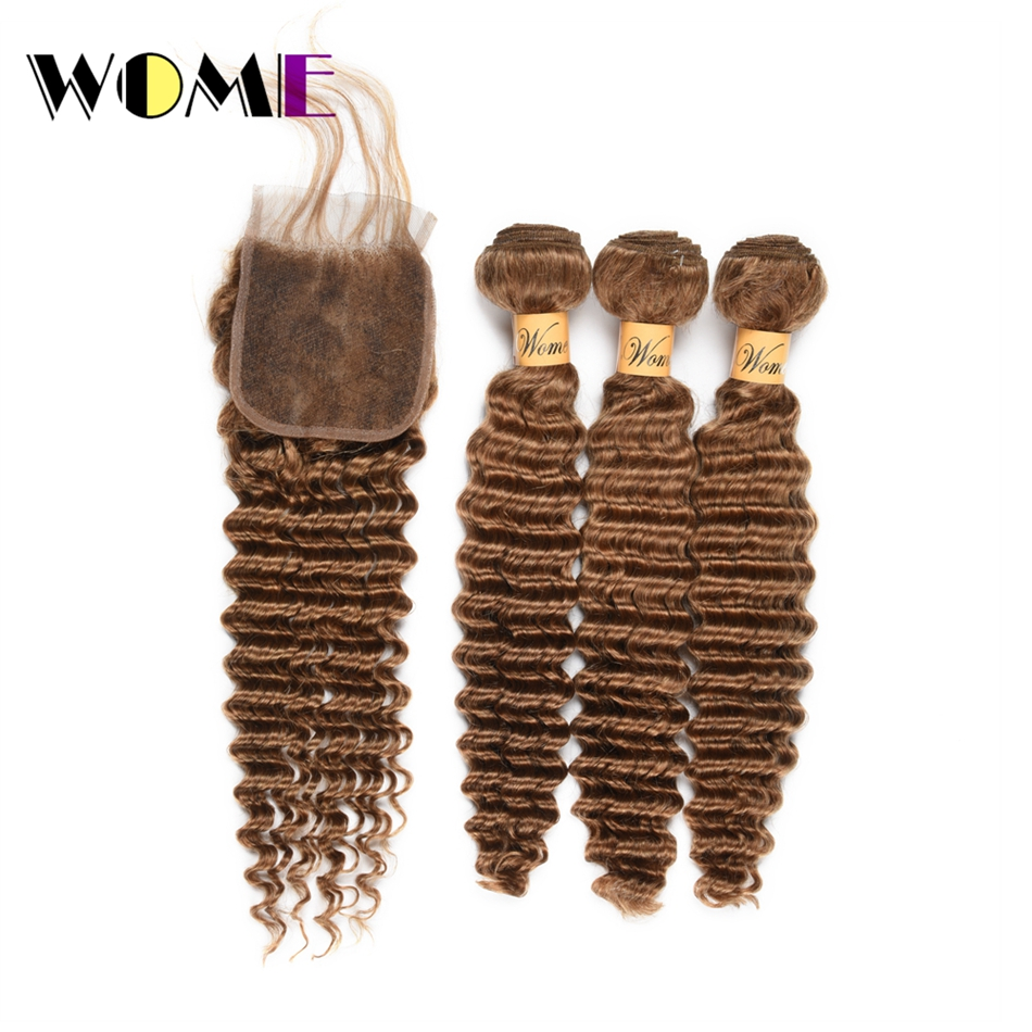 Wome #27 Indian Deep Wave Hair 3 Bundles Honey Blonde Color Human Hair With Closure Non Remy Curly Hair Extensions