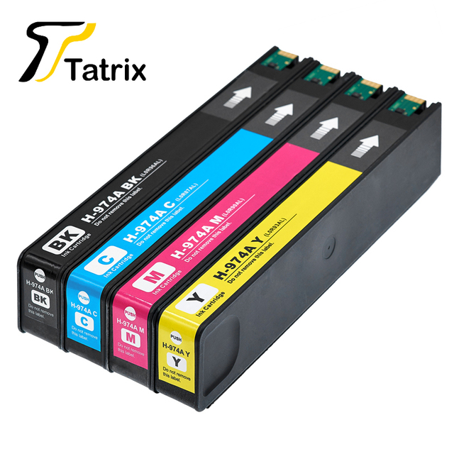 Tatrix 4PK For HP974 974 974A Full Ink Cartridge Compatible For HP PageWide  352dw 377dw 452dw