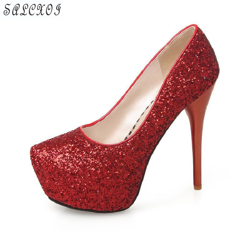 Salcxoi 2018 Spring/autumn Shoes Woman high heel Party Sexy Pumps Bling Platform Shoes Women size 43 33 free shipping &B-31 siketu 2017 free shipping spring and autumn women shoes fashion sex high heels shoes red wedding shoes pumps g107