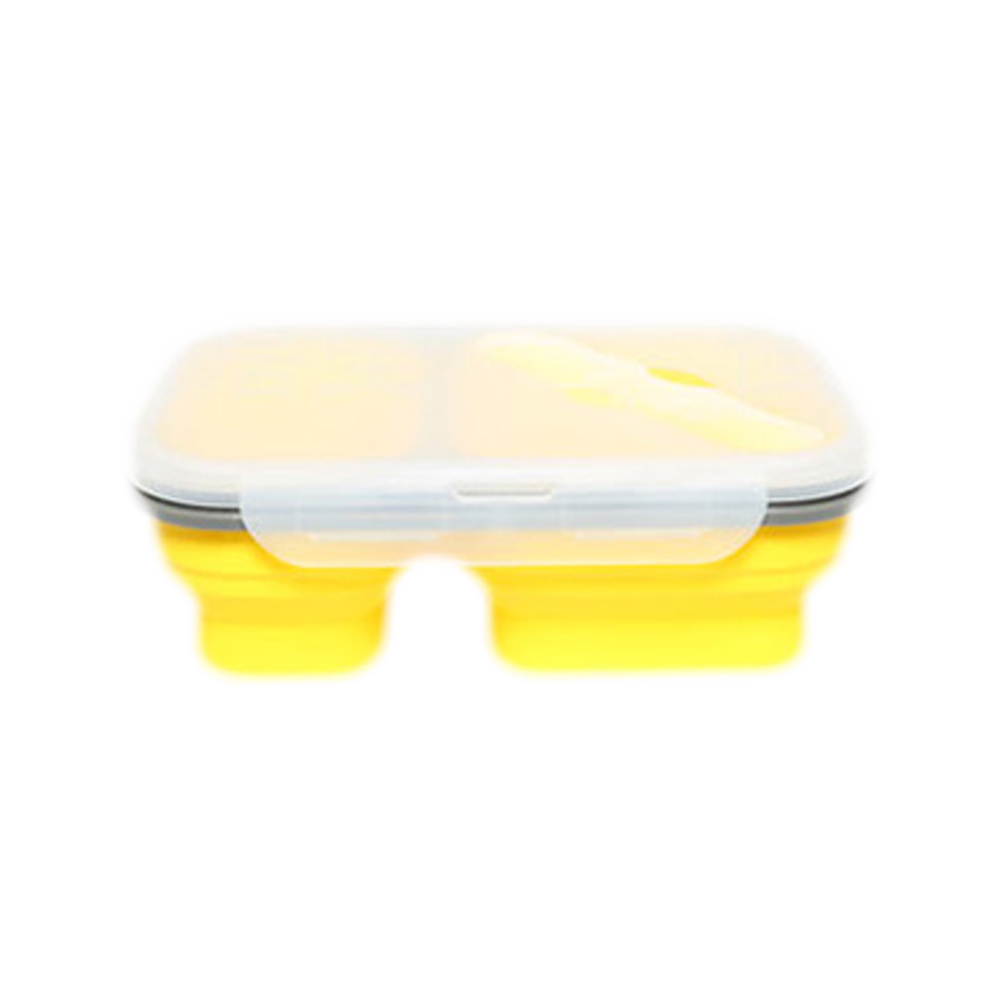2 Cells Silicone Collapsible Portable 600ml 300ML Microwave Oven Bowl Folding Food Container D20 in Lunch Boxes from Home Garden