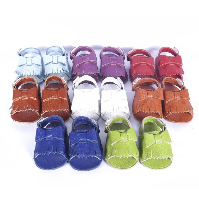 Real de Couro Mocassins Arco sapatos de Bebê Sapatos de Bebê recém-nascido Do Bebê das meninas dos meninos sapatos de Camurça Borla Primeiros Caminhantes