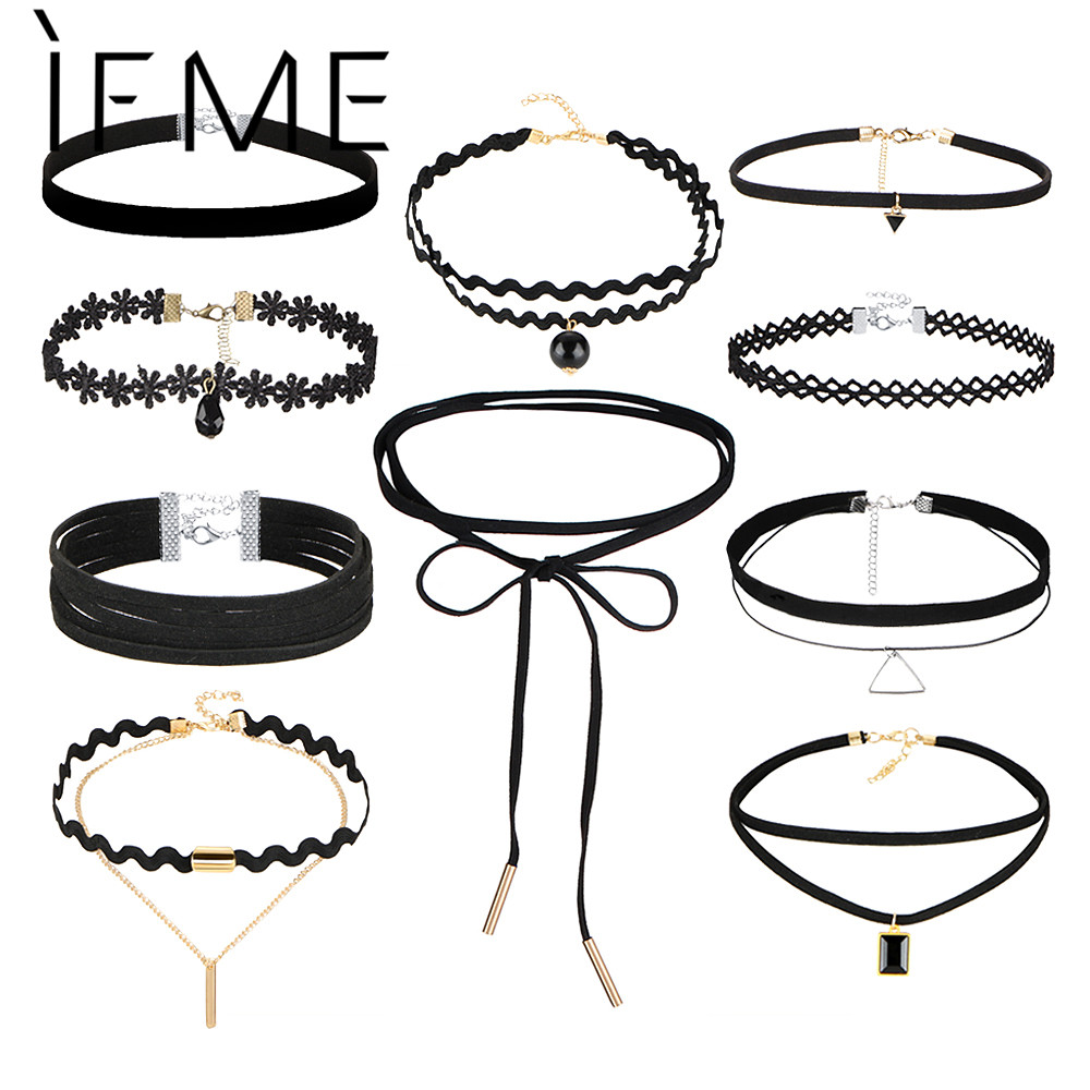 IF ME New Fashion 10st / set Svart Gothic Choker Halsband Set för Kvinnor Sexig Lace Flower Pu Leather Chokers Kraag Smycken Girl