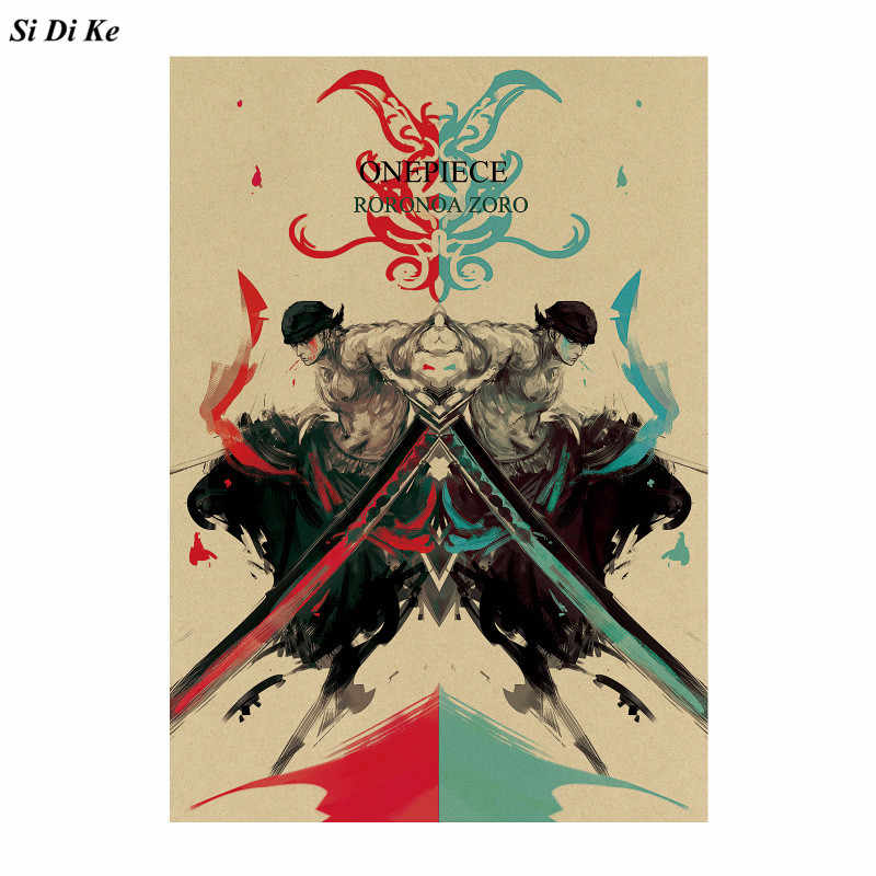 Classic Anime One Piece Roronoa Zoro Poster Retro Kraft