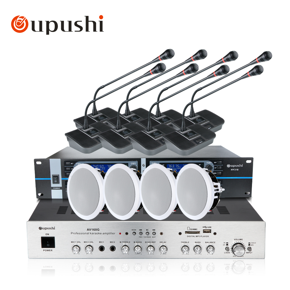 OUPUSHI Conference system 8 Channel Gooseneck UHF PPL Wireless Conference Table Microphone sound quality ceiling speaker micwl d400 uhf 4 gooseneck table uhf wireless conference microphones digital system for big meeting room