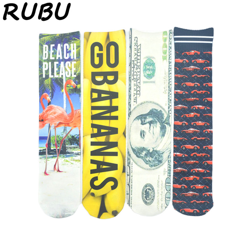 RUBU Men Straight Socks Cotton 3D Printing Long Socks Pineapple Dollar Funny Mens Crew Socks Spring Calcetines Hombre 7VB25