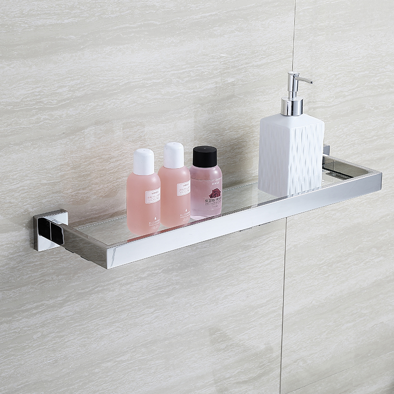 Blhtz05 glass bathroom shelves shampoo holder stainless for Rack for bathroom accessories
