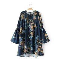 2017 women vintage round collar flower print mini dress brand quality long sleeve loose party dresses elastic dress DS021