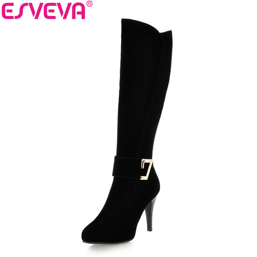 ESVEVA 2018 Women Boots Warm Short Plush Knee-high Boots Flock Ladies Fashion Shoes Thin High Heels Winter Snow Boots Size 34-39 women leather short plush thick warm snow knee high boots fashion high heels lady knight boots new arrival big size boots
