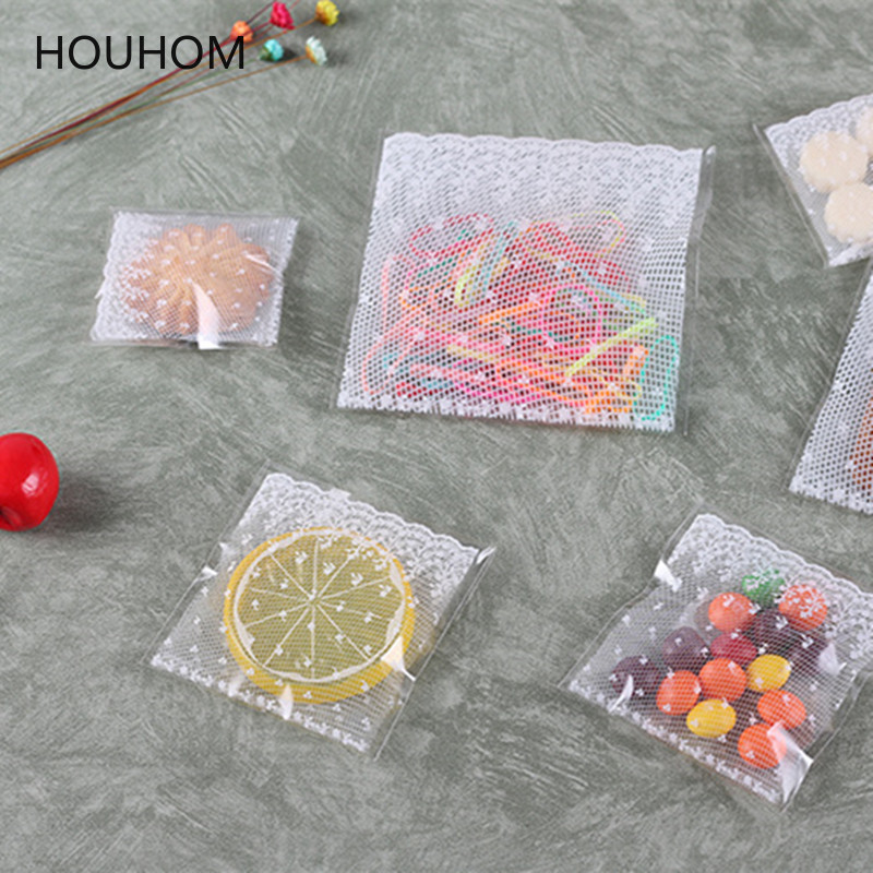 100pcs Clear Self-adhesive Cello Cellophane Bag Self Sealing Plastic Bags Candy Packing Resealable Cookie Packaging Bag Pouch