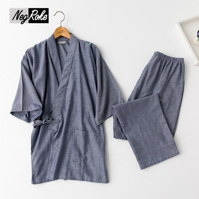 New spring 100% cotton japanese pajamas mens simple kimono pajamas sets for male pijama Casual pyjamas Sauna Khan Steam Clothing