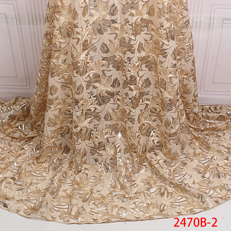 Latest African Tull Lace Fabrics High Quality 2019 Nigerian Net Lace Fabric with Sequins Sequence Lace
