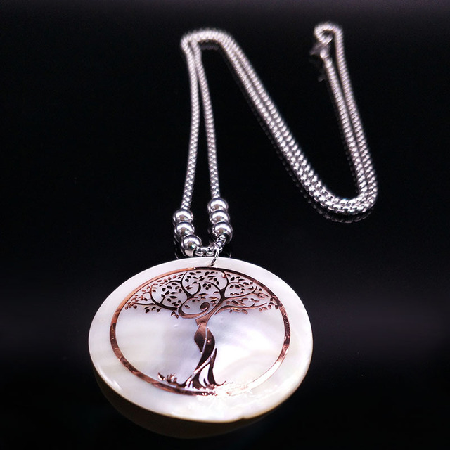 Tree of Life Rose Gold Color On Pearl Long Necklace 4