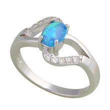 Zirconia jewelry Wholesale & Retail Luxury Blue Fire Opal Silver Stamped Ring USA Sz #7 #7.5 Fashion Jewelry OR332A