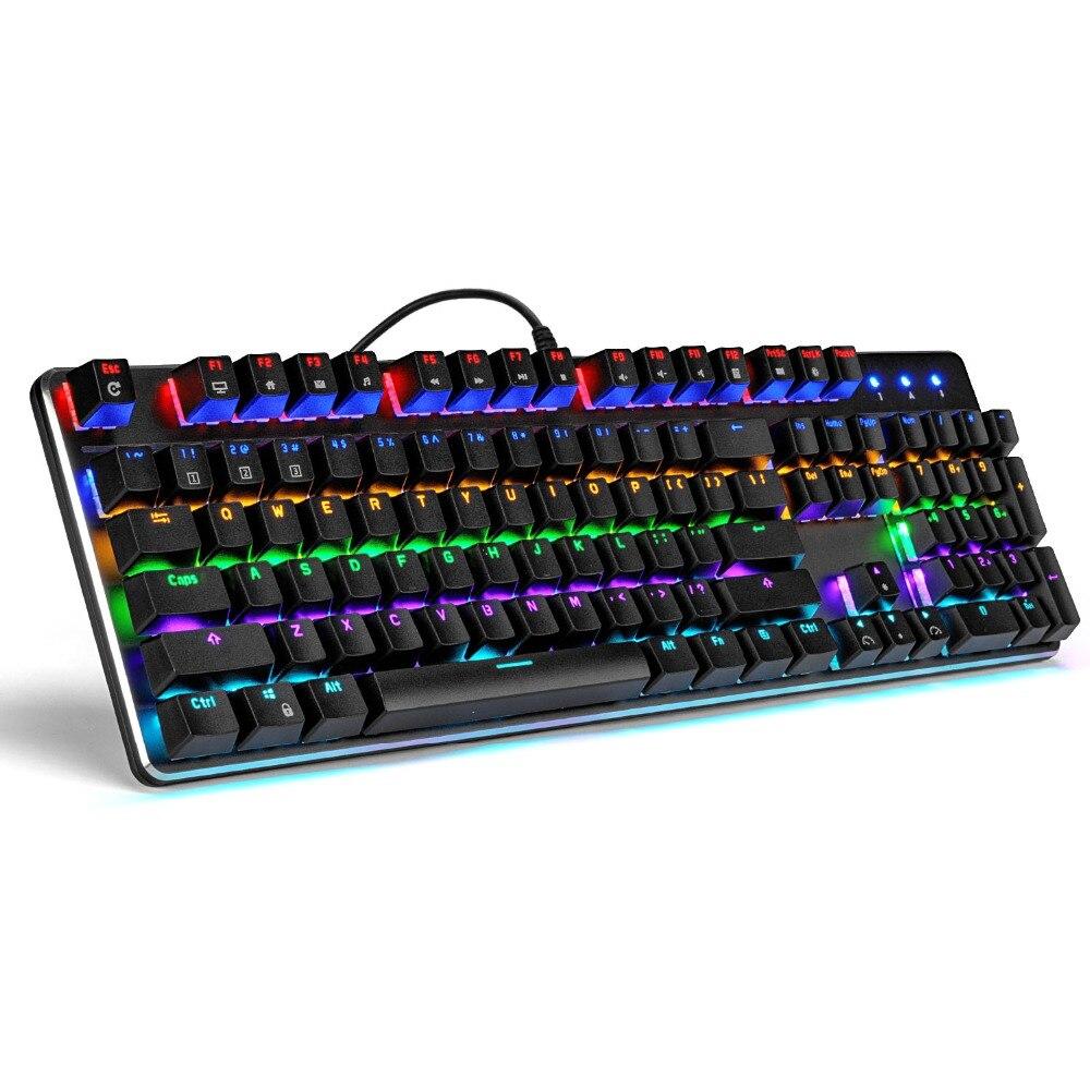 RK RK935 clavier Gamer mécanique de jeu disposition russe arc-en-ciel LED rétro-éclairé rétro-éclairage interrupteur bleu 104 touches Anti-fantôme LOL
