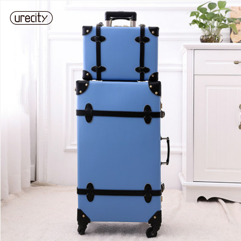 2018 luggage retro solid rolling spinner pu material suitcase 4 wheels silent suitcase case high quality free shipping