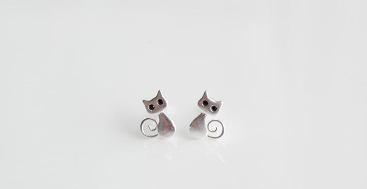 Loyal 100% 925 Sterling Silver Hypoallergenic Animals Cat Stud Earrings For Women Gift Sterling-silver-jewelry Female Brincos Bijoux Earrings