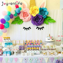 JOY-ENLIFE Birthday Decoration Unicorn Party DIY 20cm Artificial Paper Flowers Banner Cake Topper Baby Shower Party Cake Decor(China)
