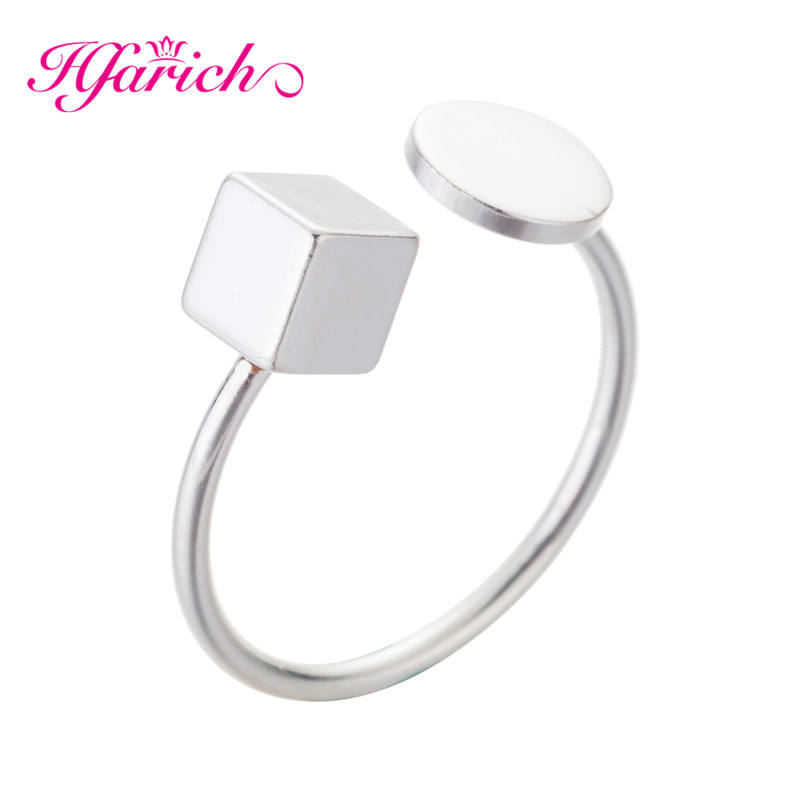 The Best Hfarich Square Circle Cube Open Rings Jewelry For Women Adjustable Simple Vintage Accessories Leadership Commitment Hot Sell Relieving Heat And Thirst. Jewelry & Accessories