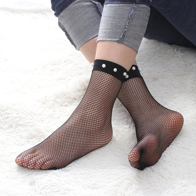 e1050315dd9 Women s Fashion Spring Summer Breathable Sexy Pearl Lace Fishnet Ankle High  Socks Mesh Fish Net Short