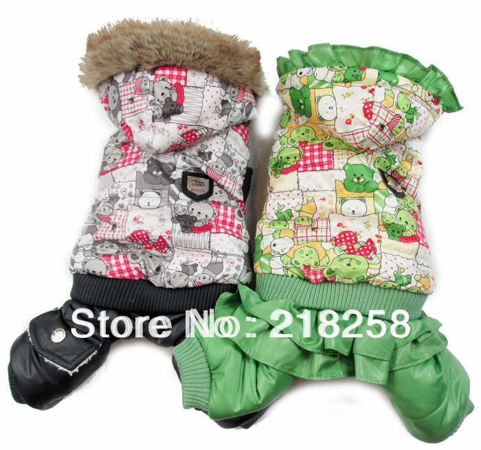 New Coming Bear Printing Pet Hundar Winter Coat Gratis frakt By China posta nya kläder till hund