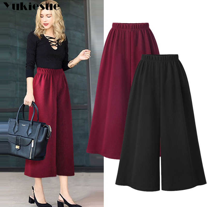 summer 2019 women's   pants   female high waist office wide leg   pants     capris   for women trousers woman Plus size 5XL red black