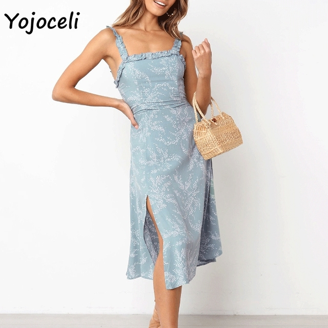 d1aa3720da Yojoceli chic spring summer 2019 ruffle dress women midi split boho beach  sundress female vestidos