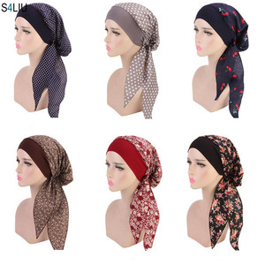 Image 2 - Muslim Women Beanie Turban Hat Head Scarf Stretchy Wrap Bandana Hijab Cap Hair Loss Flower Print Cancer Chemo Cap Arab Indian