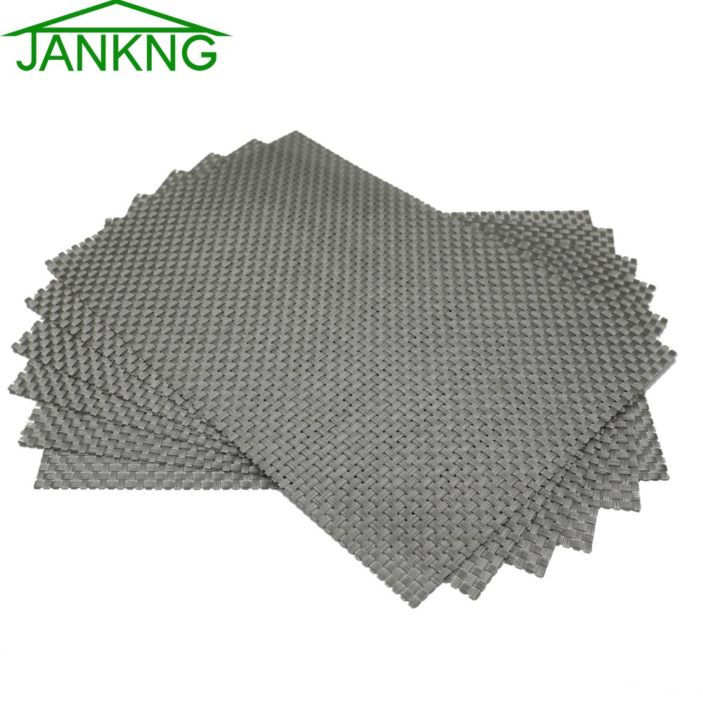 jankng 6 piece kitchen table mat woven vinyl table placemats set gold dinner decorative washable heat