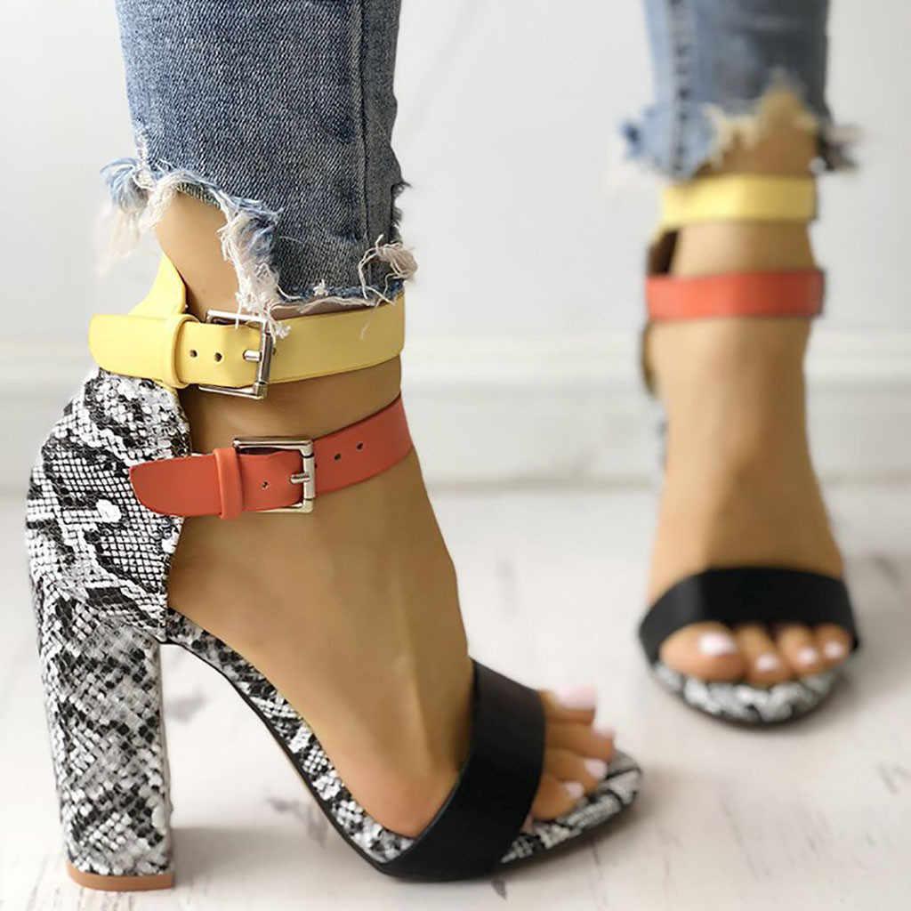 Sandalias de Mujer Zapatos de verano Mujer 2019 moda serpiente Sexy tacones altos correa de tobillo Sandalias de tacón cuadrado señoras bombas zapatos de mujer