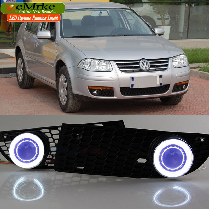 eeMrke For Volkswagen VW City Jetta Bora Fog Light LED Angel Eye DRL Daytime Running Lights Tagfahrlicht Halogen Bulbs H11 55W eemrke led angel eye drl for mazda 6 2003 2008 daytime running lights h11 55w halogen fog light lamp kits