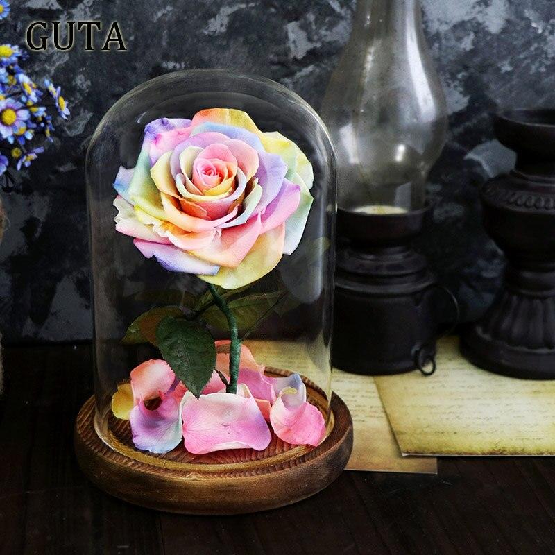 Новинка, красивая и чудовищная Роза в стеклянном куполе, светодиодный светильник, украшение для дома на День святого Валентина, рождественские подарки - Цвет: Multi-colored