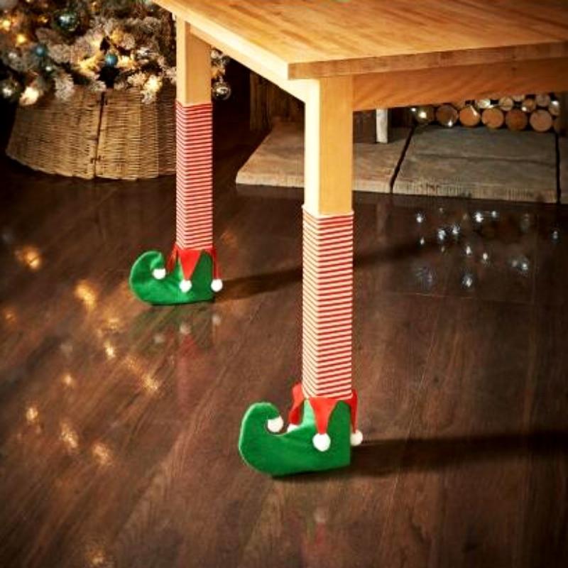 4 Pcs Set Christmas Chair Feet Cover Christmas Decoration