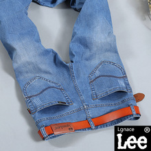 Lgnace Lee jeans men thin straight young men's spring and summer light elastic small straight thin section Large size