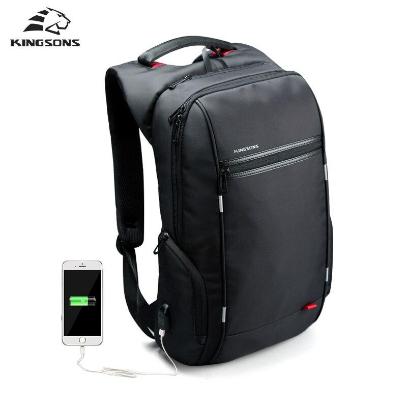 Kingsons Рюкзаки 13/15/17 дюйм(ов) рюкзак для ноутбука USB Зарядное устройство сумка противокражный рюкзак для мужчин Mochila Masculina