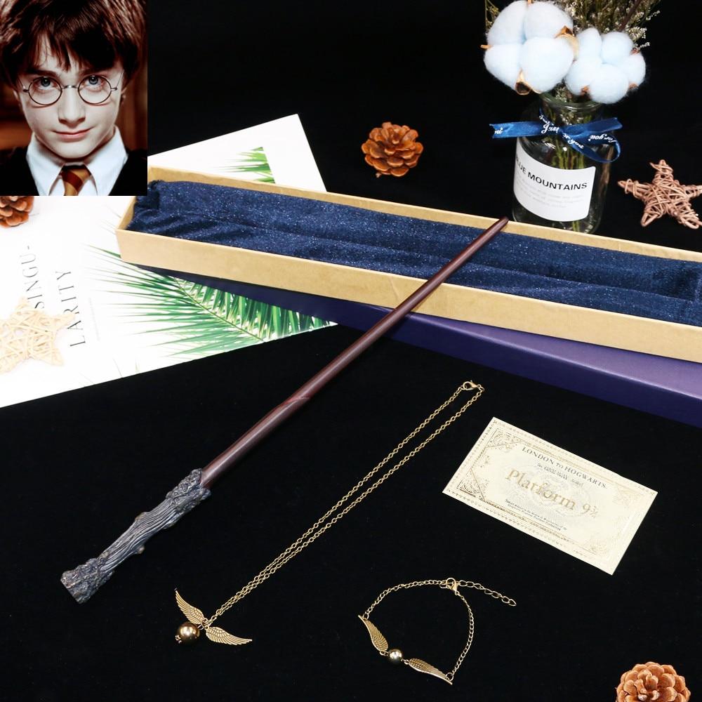 Baguette magique de potier harri de noyau en métal de Colsplay/baguette magique de potier harri/avec l'emballage de boîte-cadeau