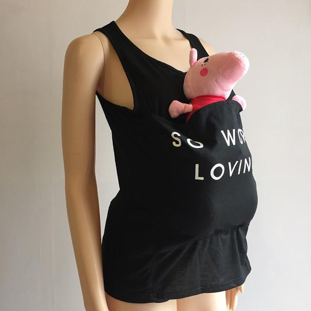 Summmer Mother Kangaroo T-Shirt Maternity Tops Mum Baby Carrier Sling Big Pocket for Women V-Neck Sleeveless Female T-shirt