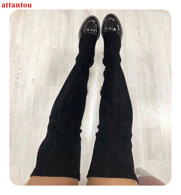 Otoño Sobre Invierno Femeninos Elástico Parche Botas Largas Chica As Mujer Redonda Bajo La Cuero Negro De Talón Picture Rodilla Gamuza Trabajo Punta Zapatos Del a1UqPFw1
