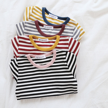 HT106 Spring Autumn Boys Girls Color Striped T-Shirt Long Sleeves Tops Summer 1-6T Baby Girls Tees Kids 95% Cotton T-Shirt