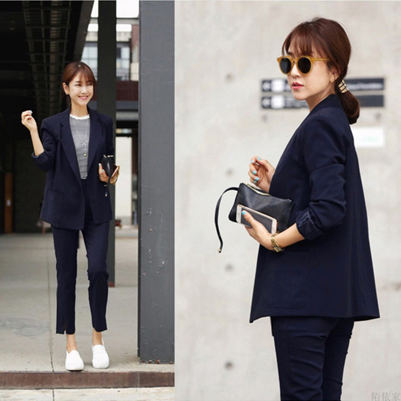 Set female 2018 spring and autumn new temperament fashion small suit + slim trousers professional leisure two-piece suit elegant