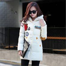Размер M ~ 2XL Белый Молнии С Длинным Женщины Зимнее Пальто Хлопок Толстые Прекрасный Капюшоном Теплый Красная Кнопка Пальто Мода Черный