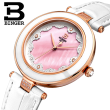 Switzerland Famous Brand Watch Women Fashion  Casual Watches BINGER Relogio Feminino Ladies Quartz Wristwatches Leather Strap