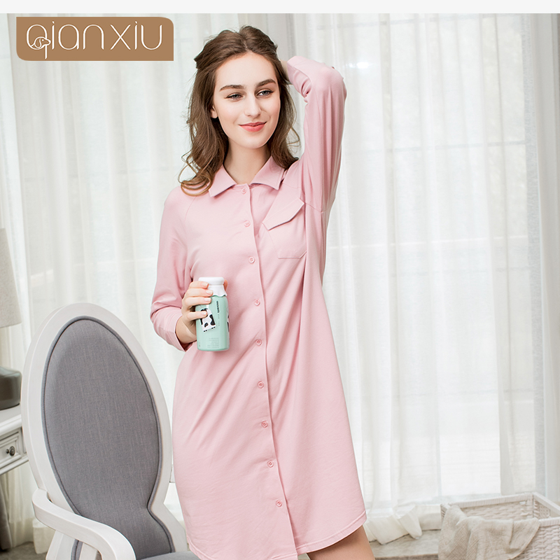 Qianxiu Women long sleeve   nightgowns   turn-down collar Cardigan   sleepshirts   woman Leisure Elasticity comfortable sleepwear ro