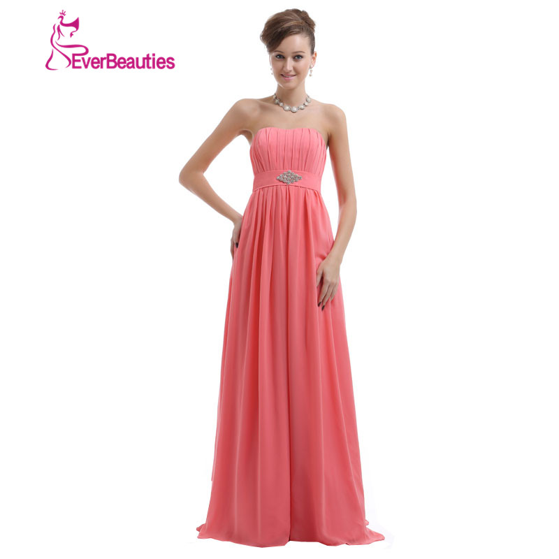 vestido madrinha coral color bridesmaid dresses long 2017 chiffon sweetheart floor length wedding guest party