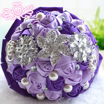 High Quality 2016 Bridal YIYI Wedding Bouquet With Crystal Pearls And Silk Roses Romantic Wedding Bride 's Bouquet D229