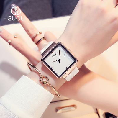 New Fashion Design GUOU Brand Watch Women Leather strap Dress Female Clock Square Dial Quartz Ladies WristWatch Relogio feminino kimio new fashion leather strap women quartz casual bracelet watch clock female ladies girl dress wristwatch relogio and box