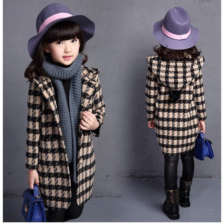 Winter Fashion Girls Jackets Coats Plaids Hoodie Girl Jacket Coat Children Clothing Kids Hooded Trench Princess Autumn Outerwear new men s military style casual fashion canvas outdoor camping travel hooded trench coat outerwear mens army parka long jackets