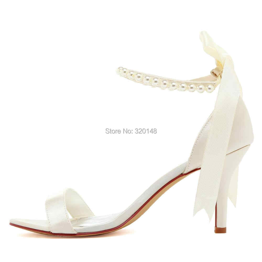 854f983c84 Summer Women Sandals EP11053N Ivory White High Heel Pearls Ankle Strap  Satin Lady Bride Evening Party Bridal Wedding Shoes